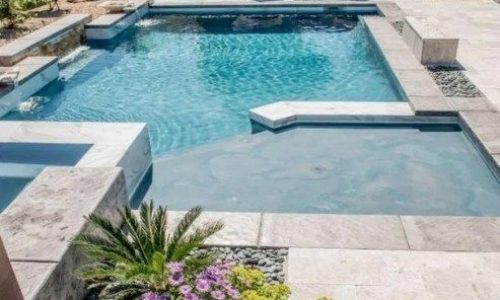 rectangle pool with tanning ledge | Rectangular Swimming Pool With Tanning Ledge…
