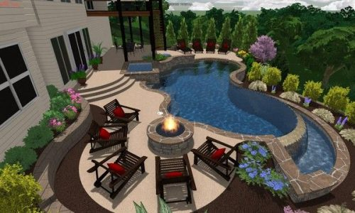 New fiberglass pool design for 2019, tanning ledge and spa combo from Viking Poo…